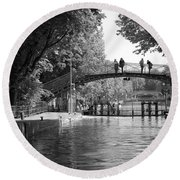 Canal Of St. Martin Bw Round Beach Towel