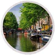 Canal Scene In Amsterdam Round Beach Towel