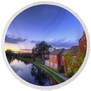 Canal Sunset Round Beach Towel