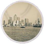 Canary Wharf Cityscape Round Beach Towel