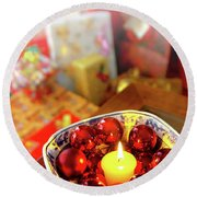 Candle And Balls Round Beach Towel
