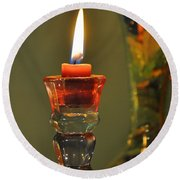 Candle And Colored Glass Round Beach Towel