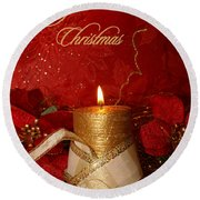 Candle Light Christmas Card Round Beach Towel