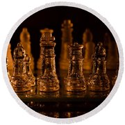 Candle Lit Chess Men Round Beach Towel