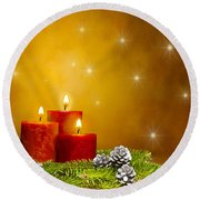 Candles Decorated Branches Of A Pine Tree And Fir Cones Round Beach Towel