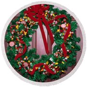 Candy Christmas Wreath Round Beach Towel