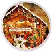 Candy Gingerbread House Round Beach Towel