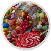 Candy Jar Spilling Candy Round Beach Towel
