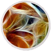 Candy Lily Fractal Panel 3 Round Beach Towel