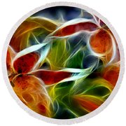 Candy Lily Fractal  Round Beach Towel