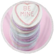 Candy With Be Mine Written On It Round Beach Towel