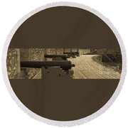 Cannons At Louisberg Fortress Round Beach Towel