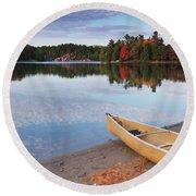 Canoe On A Shore Autumn Nature Scenery Round Beach Towel