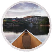 Canoeing In Ontario Provincial Park Round Beach Towel
