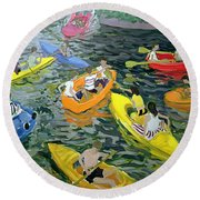 Canoes Round Beach Towel by Andrew Macara