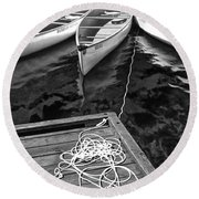 Canoes Docked At Lost Lake Round Beach Towel