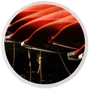 Canoes Of Red Round Beach Towel