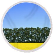 Canola Field And Trees Round Beach Towel