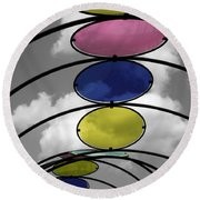 Canopy Black And White Abstract Round Beach Towel