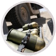 Cans Of Opened 40 Mm Grenades Round Beach Towel