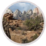 Canyon Trail Overlook Round Beach Towel