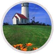Cape Blanco Lighthouse Oregon Round Beach Towel