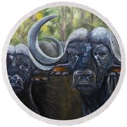 Cape Buffalo 2 Round Beach Towel