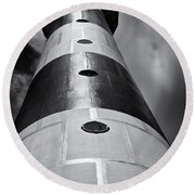 Cape Canaveral Lighthouse Black And White Round Beach Towel