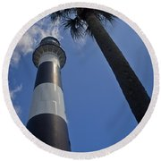 Cape Canaveral Lighthouse With Palm Tree Round Beach Towel