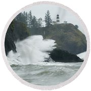 Cape Disappointment Lighthouse Round Beach Towel