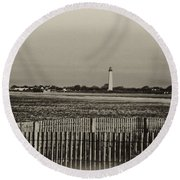 Cape May Light House In Sepia Round Beach Towel