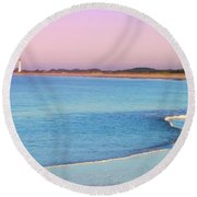 Cape May Light House Panorama Round Beach Towel