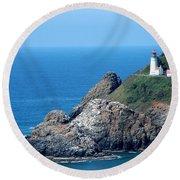 Cape Mears Lighthouse Round Beach Towel