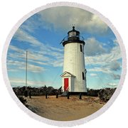 Cape Pogue Lighthouse Marthas Vineyard Round Beach Towel