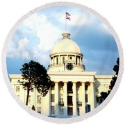 Capitol Building In Montgomery Round Beach Towel