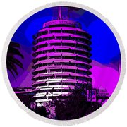 Capitol Records Building Round Beach Towel