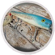 Cap'n Bill Swimmer Vintage Saltwater Fishing Lure Round Beach Towel
