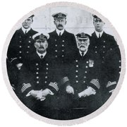 Captain And Officers Of The Titanic Round Beach Towel