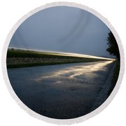 Car Lights At Night Round Beach Towel