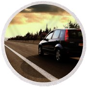 Car On The Road During Sunset Round Beach Towel