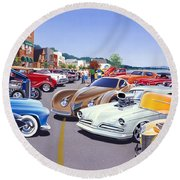Car Show By The Lake Round Beach Towel