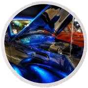 Car Show Round Beach Towel