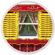 Caravan Window Round Beach Towel