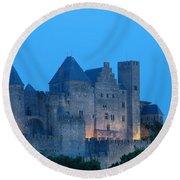 Carcassonne At Twilight Round Beach Towel