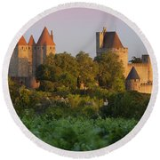 Carcassonne Dawn Round Beach Towel