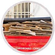 Cardboard  Round Beach Towel by Tom Gowanlock