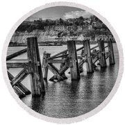 Cardiff Bay Old Jetty Supports Mono Round Beach Towel