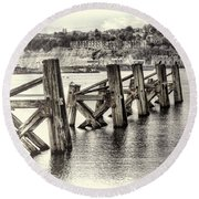 Cardiff Bay Old Jetty Supports Opal Round Beach Towel