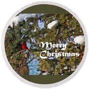 Cardinal Christmas Card Round Beach Towel