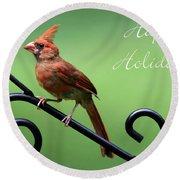 Cardinal Holiday Card Round Beach Towel